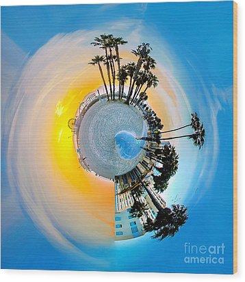 Santa Monica Pier Circagraph Wood Print by Az Jackson