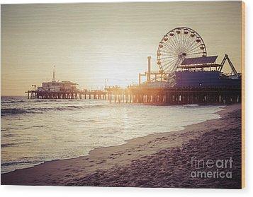Santa Monica Pier Retro Sunset Picture Wood Print by Paul Velgos
