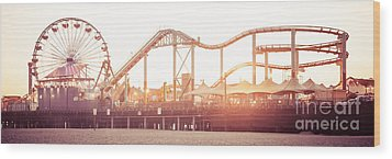 Santa Monica Pier Roller Coaster Panorama Photo Wood Print by Paul Velgos