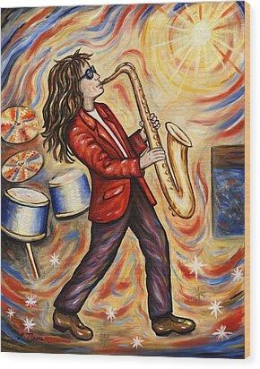 Sax Man Wood Print by Linda Mears
