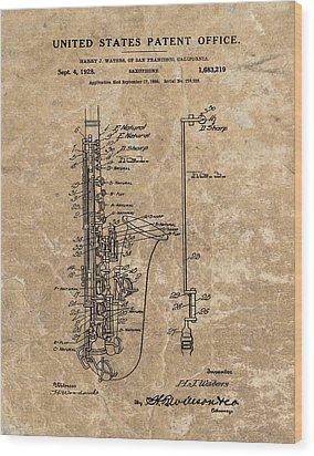 Saxophone Patent Design Illustration Wood Print by Dan Sproul