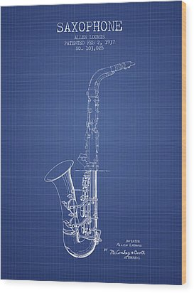 Saxophone Patent From 1937 - Blueprint Wood Print by Aged Pixel
