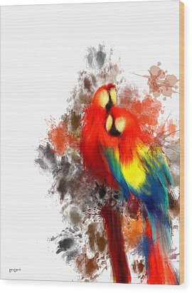 Scarlet Macaw Wood Print by Lourry Legarde