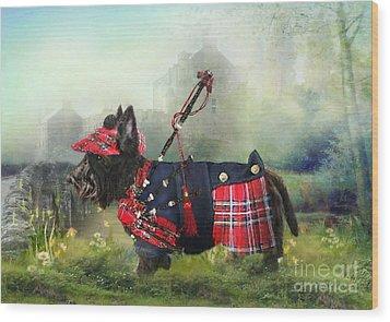 Scottie Of The Glen Wood Print by Trudi Simmonds