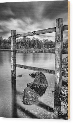 Scottish Loch With Fence Wood Print by John Farnan