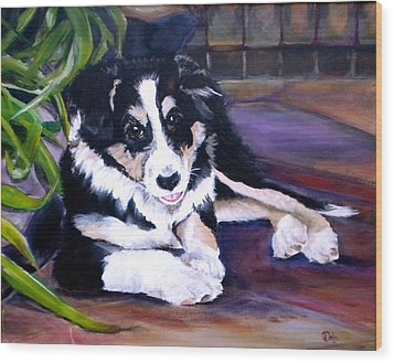 Scout Wood Print by Debi Starr