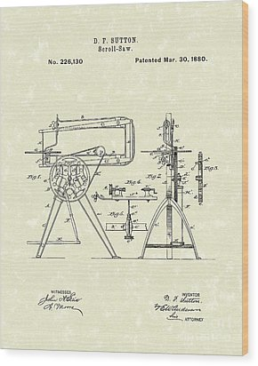 Scroll-saw 1880 Patent Art Wood Print by Prior Art Design