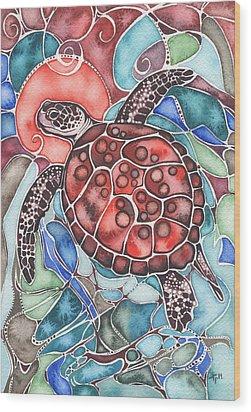 Sea Turtle Wood Print by Tamara Phillips