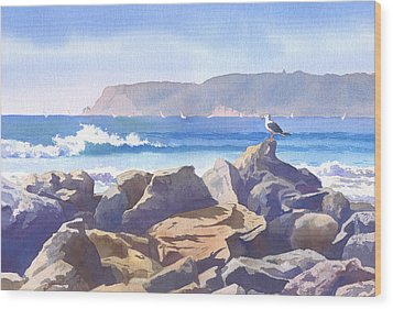 Seagull And Point Loma Wood Print by Mary Helmreich