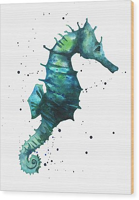 Seahorse In Teal Wood Print by Alison Fennell