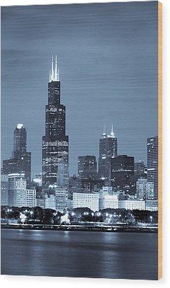 Sears Tower In Blue Wood Print by Sebastian Musial