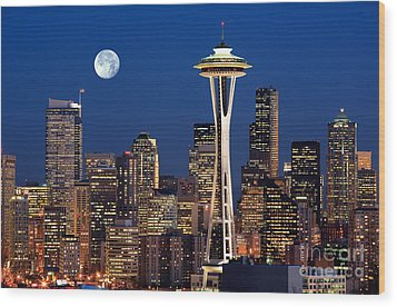 Seattle At Full Moon Wood Print by Inge Johnsson