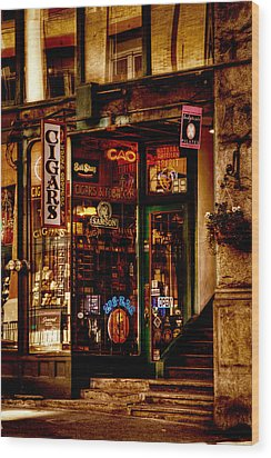 Seattle Cigar Shop Wood Print by David Patterson