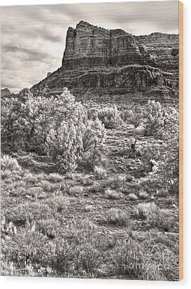 Sedona Arizona Mountain View  - Black And White Wood Print by Gregory Dyer