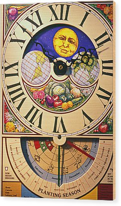 Seed Planting Clock Wood Print by Garry Gay