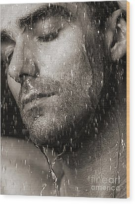 Sensual Portrait Of Man Face Under Pouring Water Black And White Wood Print by Oleksiy Maksymenko