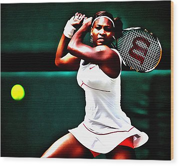 Serena Williams 3a Wood Print by Brian Reaves