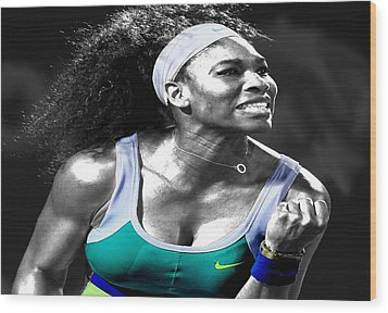 Serena Williams Ace Wood Print by Brian Reaves
