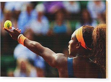 Serena Williams Wood Print by Srdjan Petrovic