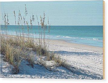 Serene Florida Beach Scene Wood Print by Rebecca Brittain