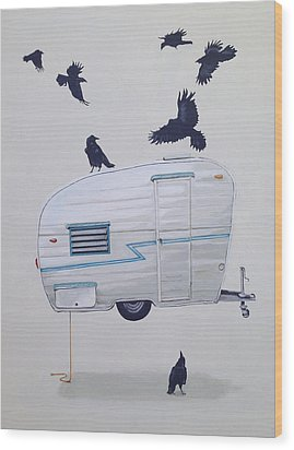 Seven Crows And A Canned Ham Wood Print by Jeffrey Bess