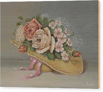 Shabby Chic Roses Wood Print by Radoslav Nedelchev