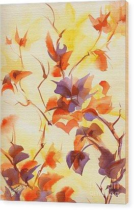 Shadow Leaves Wood Print by Summer Celeste