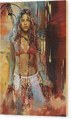 Shakira  Wood Print by Corporate Art Task Force