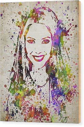 Shakira In Color Wood Print by Aged Pixel