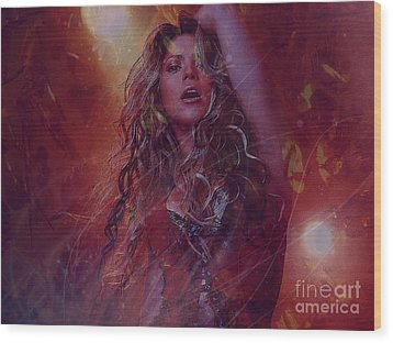 Shakira Wood Print by Jessie Art