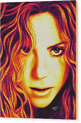 Shakira Wood Print by Rebelwolf