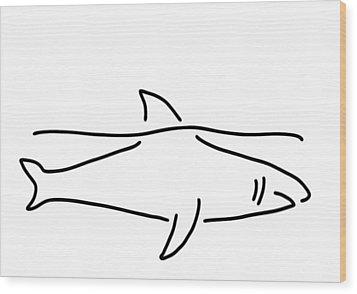 Shark Shark Fish Fin Sea Wood Print by Lineamentum