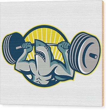 Shark Weightlifter Lifting Barbell Mascot Wood Print by Aloysius Patrimonio