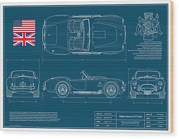 Shelby American 427 Cobra Blueplanprint Wood Print by Douglas Switzer