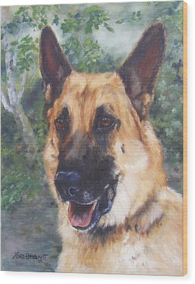 Shep Wood Print by Lori Brackett