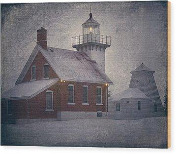 Sherwood Point Light Wood Print by Joan Carroll