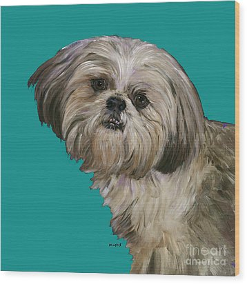 Shih Tzu On Turquoise Wood Print by Dale Moses