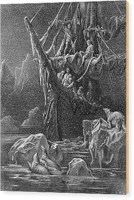 Ship In Antartica Wood Print by Gustave Dore