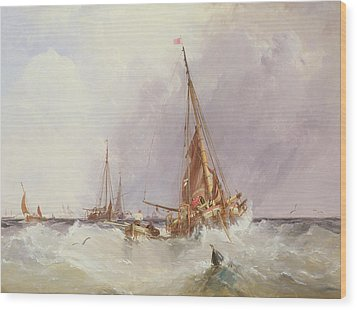 Shipping In The Solent 19th Century Wood Print by George the Elder Chambers