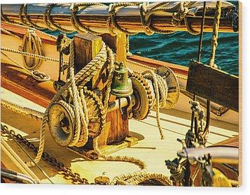 Ships Bell Sailboat Wood Print by Bob Orsillo