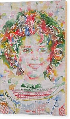 Shirley Temple - Watercolor Portrait.1 Wood Print by Fabrizio Cassetta