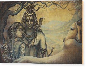 Shiva Parvati . Spring In Himalayas Wood Print by Vrindavan Das