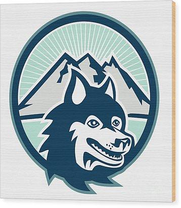 Siberian Husky Dog Head Mountain Retro Wood Print by Aloysius Patrimonio