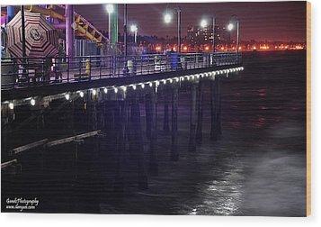 Side Of The Pier - Santa Monica Wood Print by Gandz Photography