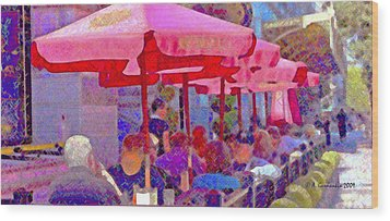 Wood Print featuring the photograph Sidewalk Cafe Digital Painting by A Gurmankin