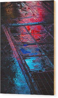 Sidewalk Reflections Wood Print by Garry Gay