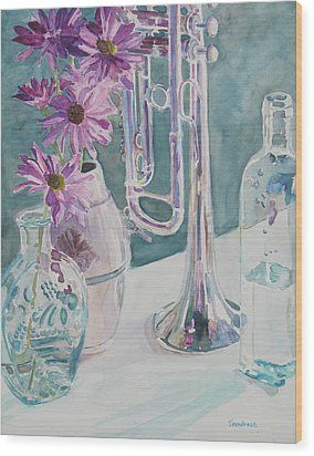 Silver And Glass Music Wood Print by Jenny Armitage