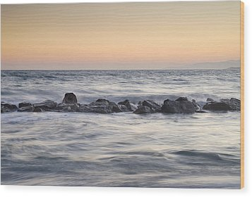 Silver Sea At Sunset Wood Print by Guido Montanes Castillo