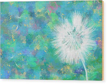 Silverpuff Dandelion Wish Wood Print by Nikki Marie Smith