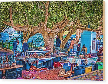 Simon's Town Market Wood Print by Cliff C Morris Jr